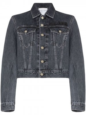 Укороченная джинсовая куртка с вышитым логотипом Helmut Lang. Цвет: синий