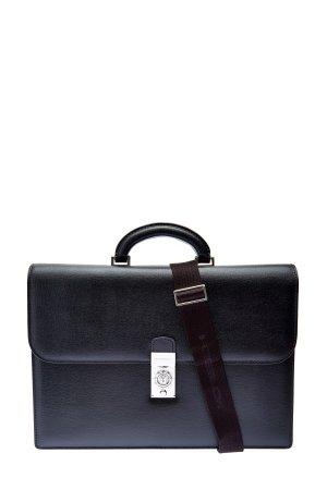 Портфель из кожи saffiano с кодовым замком MORESCHI. Цвет: черный
