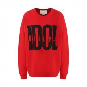 Хлопковый пуловер Gucci. Цвет: красный