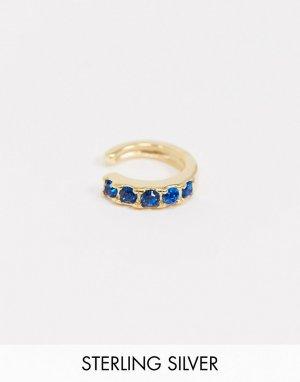 Серьга-кафф из позолоченного серебра с синими камнями -Золотой ASOS DESIGN