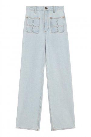 Прямые широкие джинсы голубого цвета Sandro. Цвет: белый