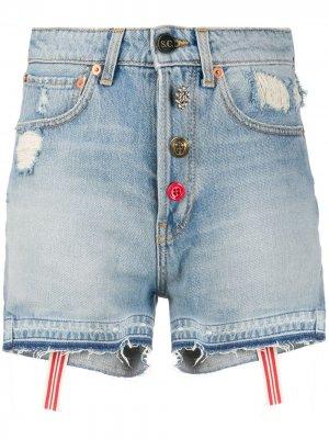 Джинсовые шорты с эффектом потертости Semicouture. Цвет: синий