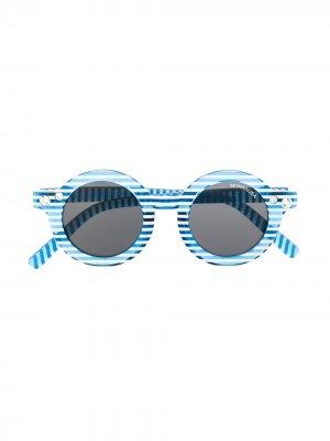 Полосатые солнцезащитные очки в круглой оправе Monnalisa. Цвет: синий