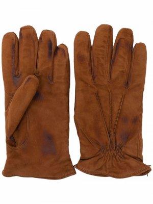 Перчатки с эффектом потертости Eleventy. Цвет: коричневый