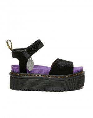 Черные бархатные сандалии на плоской подошве x Girl-Черный цвет Dr Martens