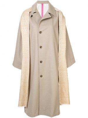 Ys пальто с декоративной шалью Y's. Цвет: нейтральные цвета