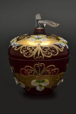 Конфетница с крышкой 10 см Bohemia. Цвет: красный, золотой