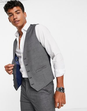 Темно-серый жилет приталенного кроя из ткани с нитками двух цветов Burton Menswear