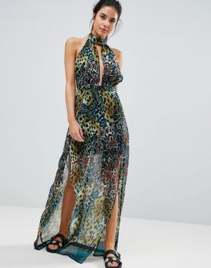 Пляжное платье макси с леопардовым принтом PrettyLittleThing. Цвет: зеленый