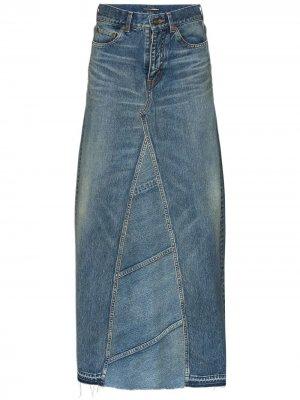 Джинсовая юбка макси с завышенной талией Saint Laurent. Цвет: синий
