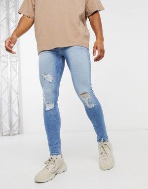Голубые джинсы с напылением и рваной отделкой -Голубой ASOS DESIGN