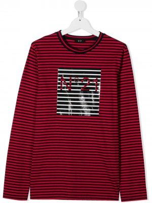 Полосатый топ с логотипом Nº21 Kids. Цвет: красный