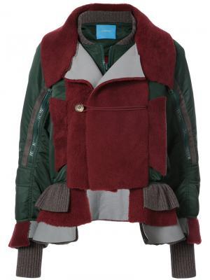Куртка-бомбер с контрастными панелями Undercover. Цвет: красный