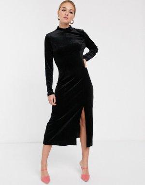 Бархатное платье миди с высоким воротником -Черный Glamorous