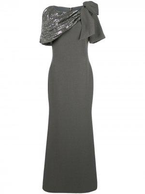 Платье асимметричного кроя с драпировкой Badgley Mischka