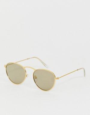 Круглые солнцезащитные очки в золотистой металлической оправе -Золотистый ASOS DESIGN