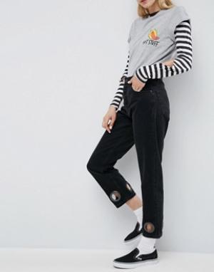 Черные выбеленные джинсы прямого кроя с большими люверсами FLOREN ASOS. Цвет: черный