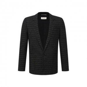 Пиджак из шерсти и вискозы Saint Laurent. Цвет: чёрный