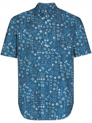 Рубашка с короткими рукавами и принтом Gitman Vintage. Цвет: синий