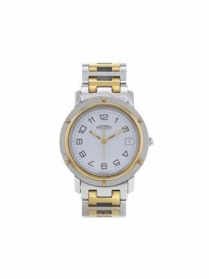 Наручные часы Clipper pre-owned 36 мм 1990-го года Hermès. Цвет: белый