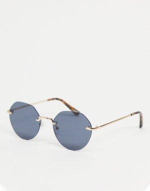 Круглые солнцезащитные очки без оправы с черепаховыми заушниками -Черный цвет ASOS DESIGN