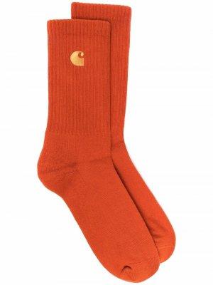 Embroidered logo socks Carhartt WIP. Цвет: оранжевый