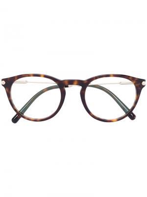 Очки в оправе с эффектом черепашьего панциря Bulgari. Цвет: коричневый