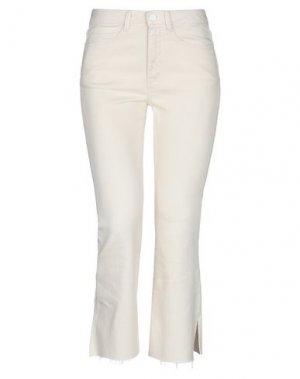 Джинсовые брюки-капри P_JEAN. Цвет: слоновая кость