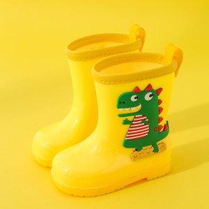 Сапоги дождя с мультяшным принтом для девочек SHEIN. Цвет: жёлтые