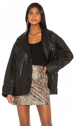 Кожаная куртка moises GRLFRND. Цвет: черный