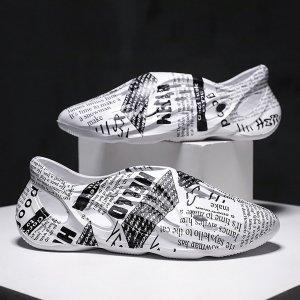 Мужские сандалии с текстовым узором SHEIN. Цвет: белый