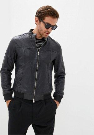 Куртка кожаная AllSaints. Цвет: синий