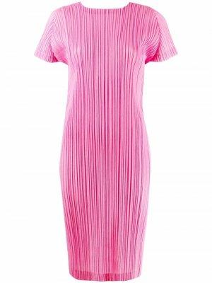 Plissé effect T-shirt dress Pleats Please Issey Miyake. Цвет: розовый