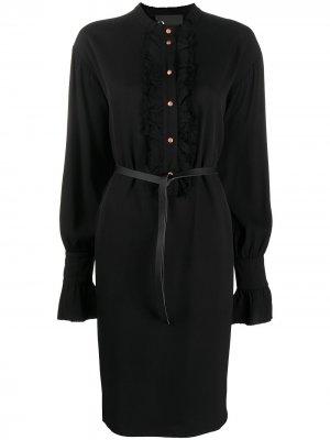 Платье-рубашка с оборками 8pm. Цвет: черный