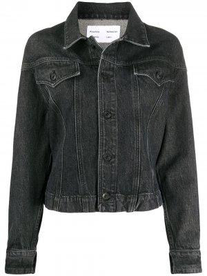 Джинсовая куртка с эффектом потертости Proenza Schouler White Label. Цвет: черный
