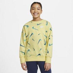 Свитшот из ткани френч терри с принтом для девочек школьного возраста Nike Sportswear - Желтый