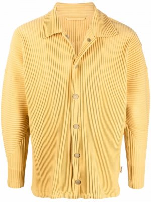 Плиссированная куртка-рубашка Homme Plissé Issey Miyake. Цвет: желтый