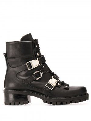 Ботинки в стиле милитари с пряжками Albano. Цвет: черный