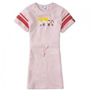 Детское платье x PEANUTS Kids Dress PUMA. Цвет: розовый