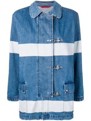Полосатая джинсовая куртка Fay. Цвет: синий