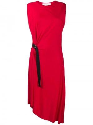 Платье миди с пряжкой 8pm. Цвет: красный