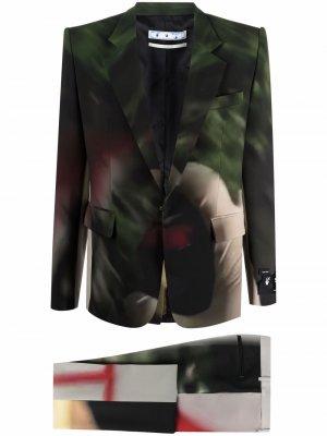 Костюм с однобортным пиджаком и принтом Off-White. Цвет: зеленый