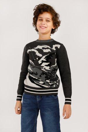 Джемпер для мальчика Finn-Flare. Цвет: темно-серый