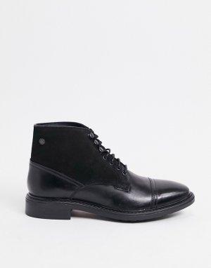 Черные кожаные ботинки со вставкой на носке -Черный Base London