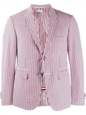 Пиджак из сирсакера в полоску RWB Thom Browne. Цвет: красный