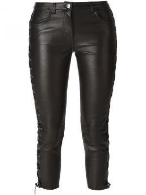 Укороченные брюки с деталями на шнуровке American Retro. Цвет: чёрный