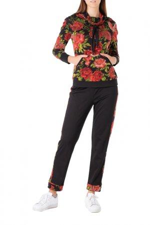 Костюм: джемпер, брюки Adzhedo. Цвет: черный, красные розы