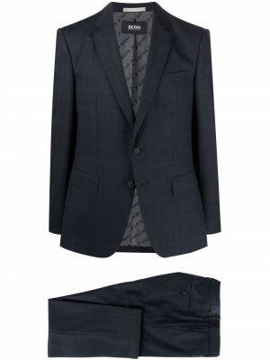 Строгий костюм с однобортным пиджаком Boss Hugo. Цвет: синий