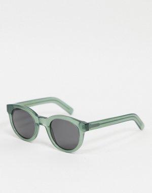 Круглые солнцезащитные очки унисекс в полупрозрачной зеленой оправе Shiro-Зеленый Monokel Eyewear