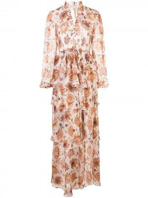 Платье макси с ярусной юбкой и цветочным принтом Shona Joy. Цвет: белый